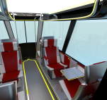 Interior View, seats, tables, car destination screen